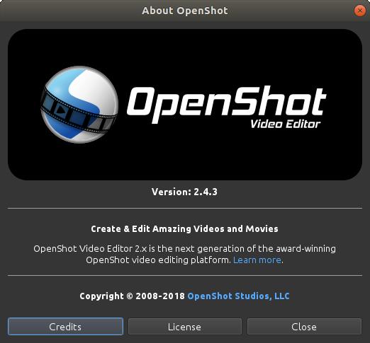 Okno About w OpenShot
